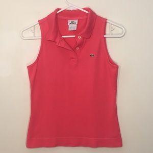 Lacoste Pink Sleeveless 3 Button Polo 38 6 EUC!